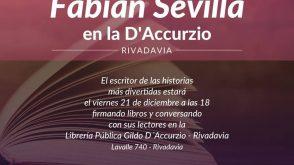 Fabián Sevilla estará en la librería pública Gildo D´Accurzio