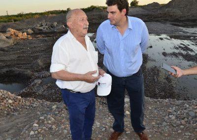 Ronco visitó la obra del puente de Santa María de Oro junto al Ministro Kerchner