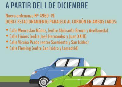 Doble estacionamiento paralelo en calles de Rivadavia