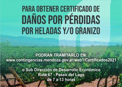 Certificado de daños para productores