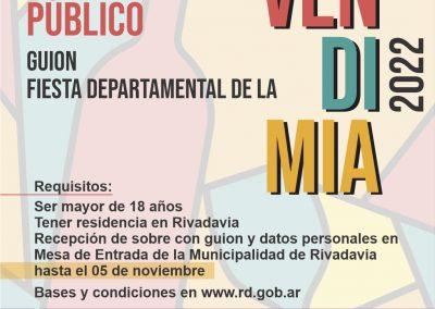 Concurso público para propuesta de guion de vendimia departamental 2022